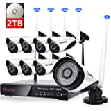8 Channel Wireless Security Camera System NVR Video Surveillance System 720p Bullet Camera Night Vision Motion Detection Backup 2TB Hard Drive for Indoor Outdoor