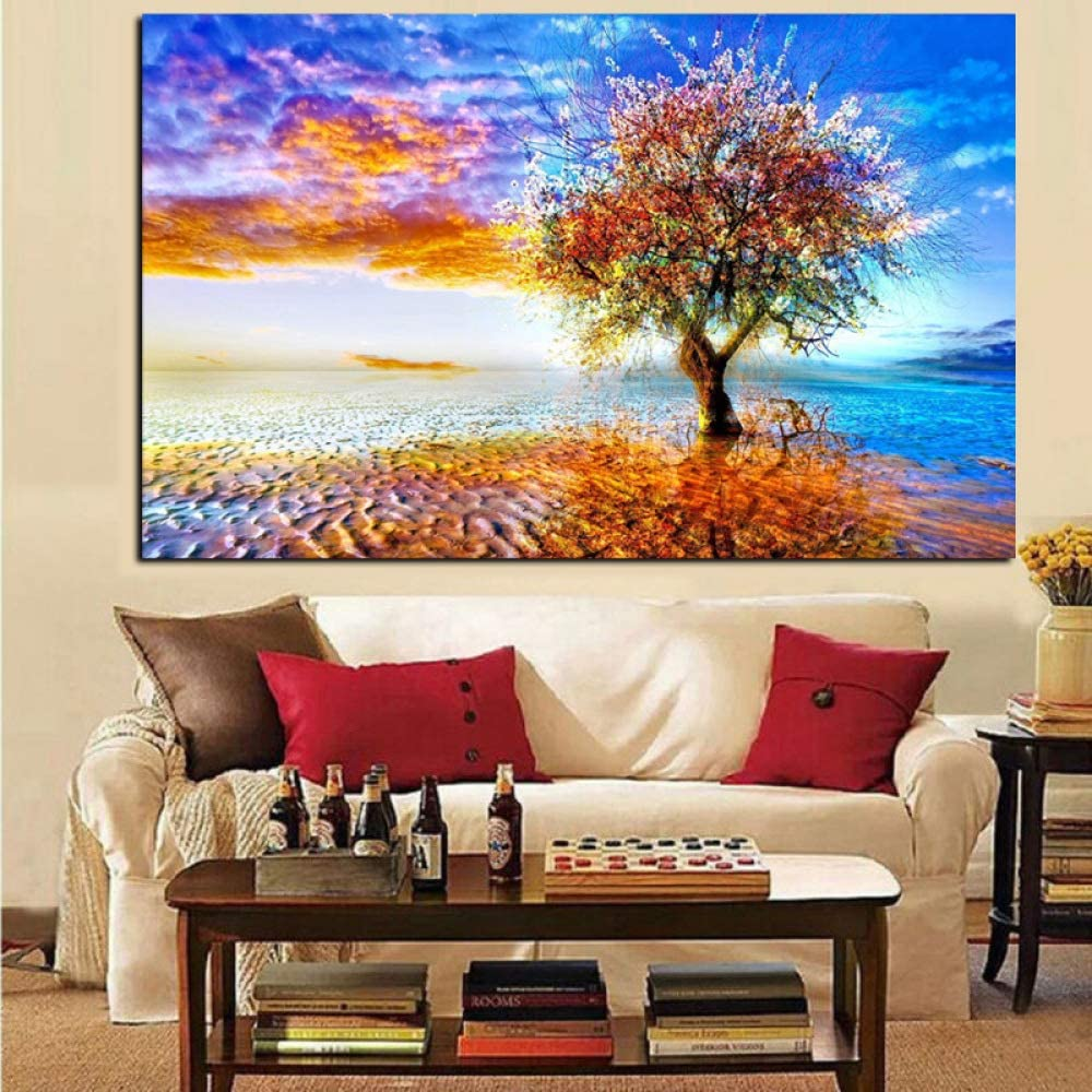 SADHAF Abstracto colorido arte tierra árbol pintura cuadro arte sala decoración en lienzo pared A5 60x90cm