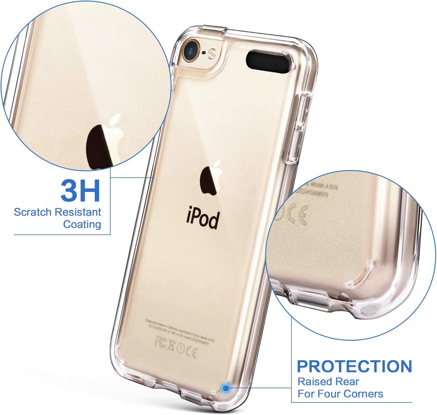 iPod Touch 7 Case Clear,IDWELL Touch 6 Touch 5 Case with 2 Screen Protectors, Clear Slim Soft TPU Bumper Hard Cover for iPod Touch 5/6/7th Generation (Latest Model,2019 Released), HD Clear 71mQmwMweCL