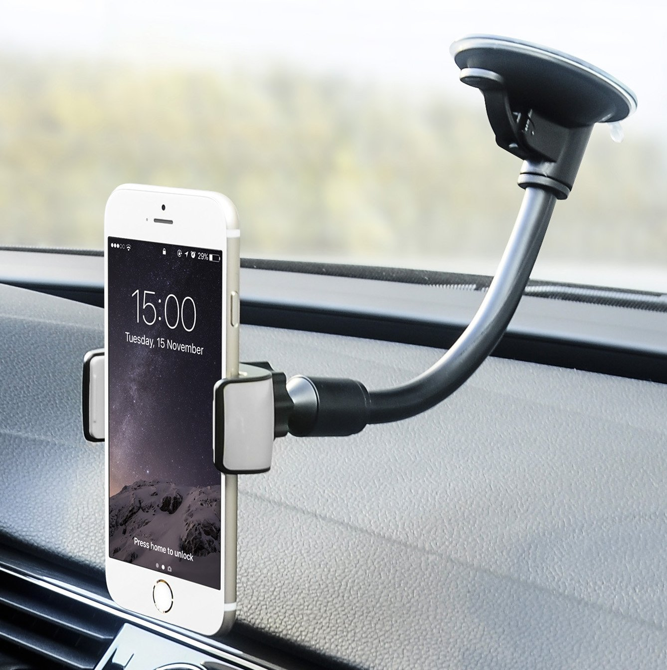 Car Mount, Universal Flexible Arm Windshield Car Phone Holder with Strong Suction Cup for iPhone X SE 7 Plus 6s 6 Plus 6 5s 5 4s 4 Samsung Galaxy S9 Plus S8 Note S7 Edge LG Nexus Sony Nokia and More