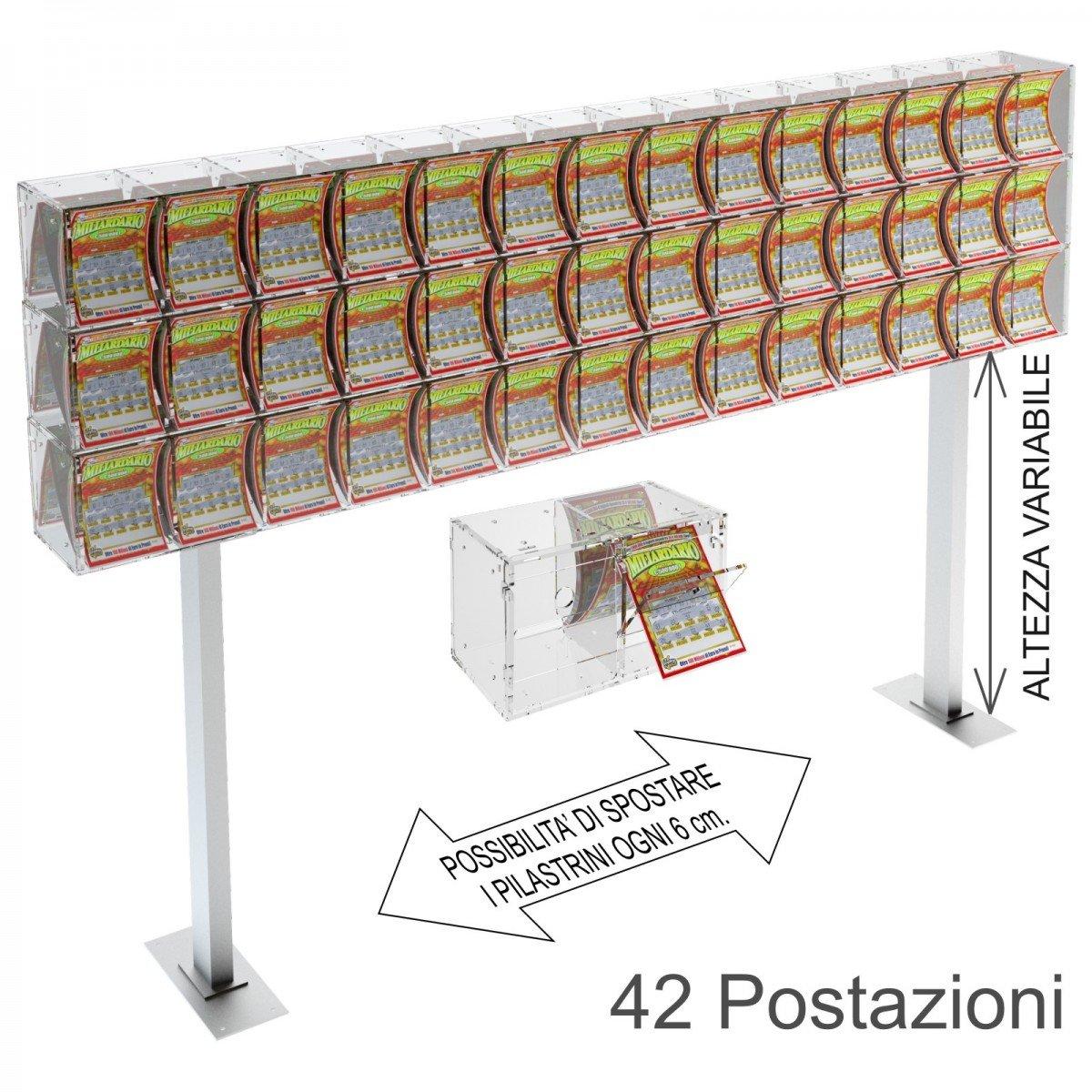 Espositore gratta e vinci da banco in plexiglass trasparente a 42 contenitori munito di sportellino frontale lato rivenditore