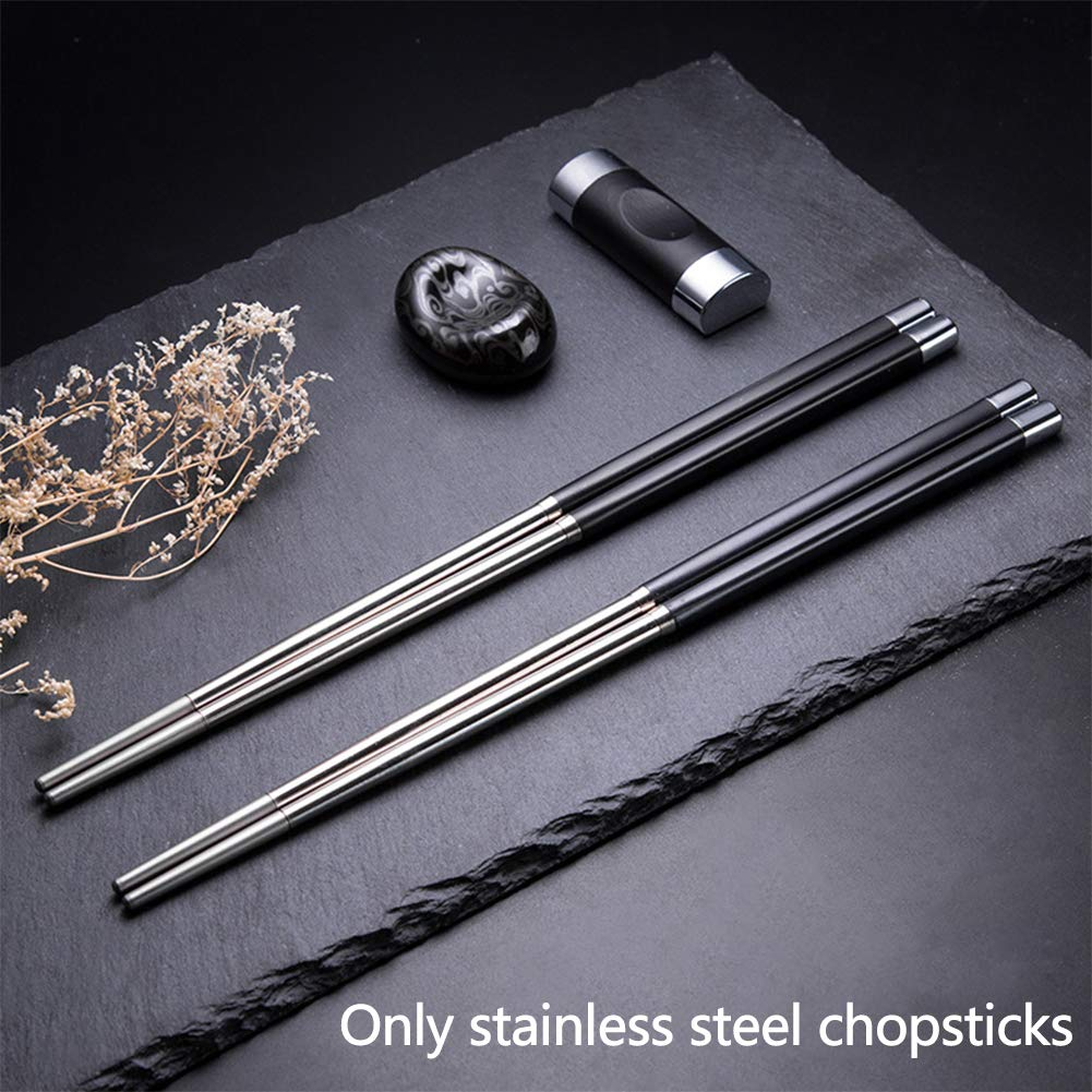 1 Pair Reusable Chinese Chopsticks Metal Stainless Steel Luxury Family Tools New