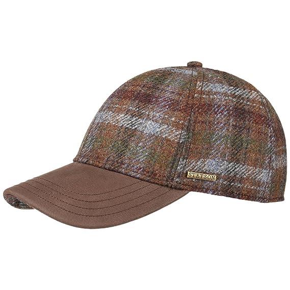 19ff3223a93 Stetson Myler Wool Check Baseball Cap Base (M (56-57 cm) - Brown ...