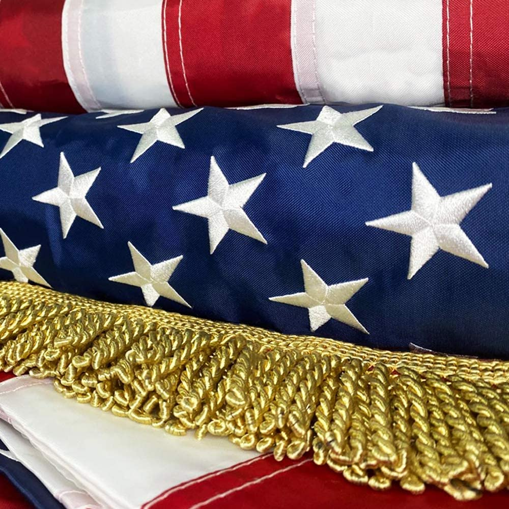 American Flag with Luxurious Golden Fringe ,United Flags USA US Flag Deluxe Embroidered Stars, Heavy Duty Durable Flags Built for Outdoors, Vivid Color (3x5 FT Embroidered Stars and Golden Fringe)