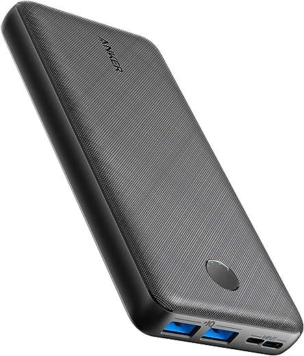 Powerbank Anker PowerCore Essential, 20000 mAh externe accu met PowerIQ technologie en USB-C ingang, enorme energiedichtheid, compatibel met iPhone, Samsung, Huawei, iPad en meer