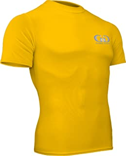 product image for HT-603S-CB Fitness Compression Fit, Short Sleeve Crew Neck Shirt-Track, Soccer, Football, Weight Training, Lacrosse-Sweat Transfer Technology (Medium, Gold)
