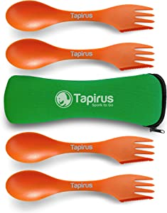Tapirus 4 Spork to Go Set - Durable and BPA Free Sporks - Spoon, Fork and Knife Combo Utensils Flatware - Mess Kit for Camping, Hunting and Outdoor Activities - Comes in a Carrying Case