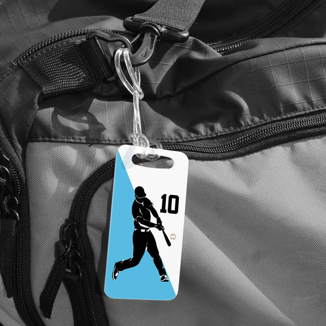 SMALL RED Standard Lines on Back Personalized Number Baseball Player Batter Silhouette Baseball Luggage /& Bag Tag