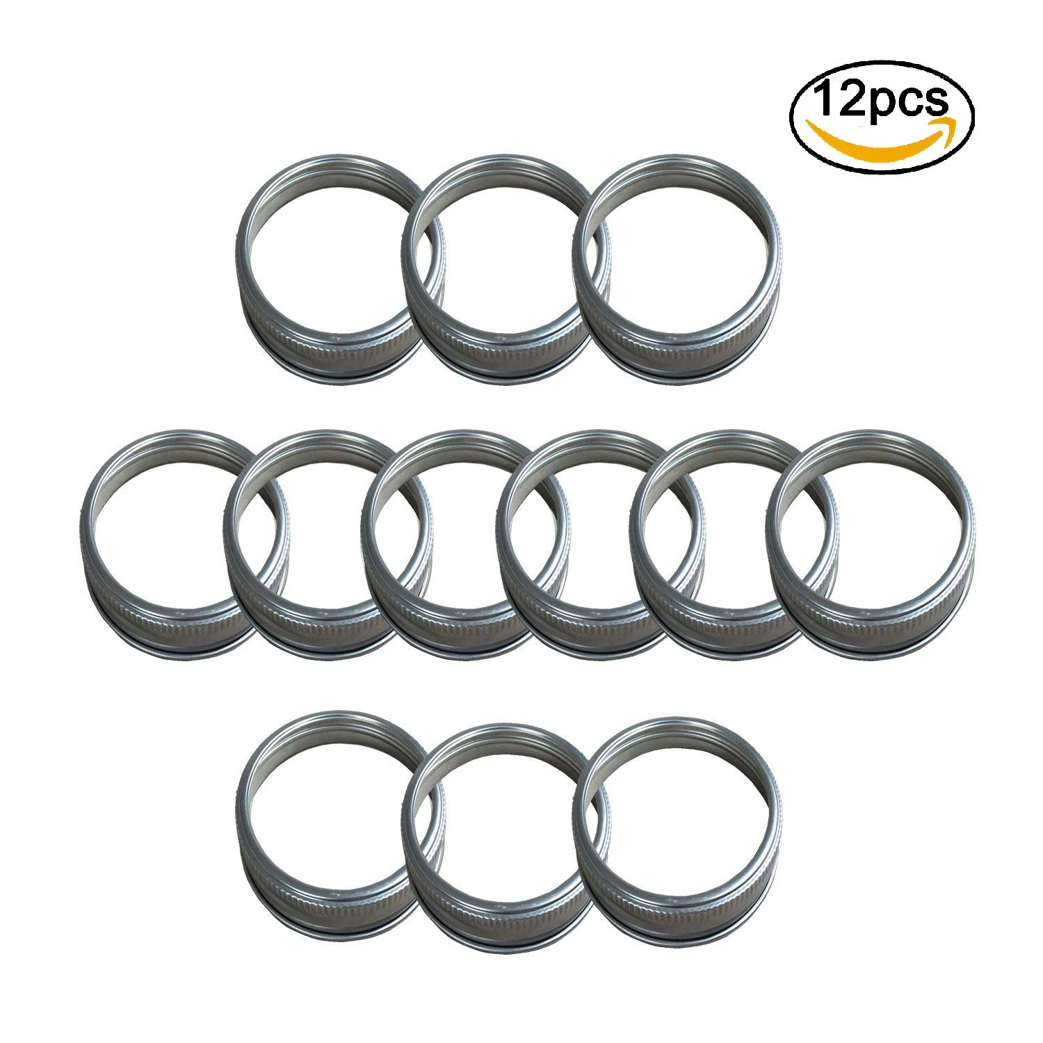 THINKCHANCES Stainless Steel Rust Resistant Bands/Rings for Mason, Ball, Canning Jars (12 Pack, Regular Mouth)