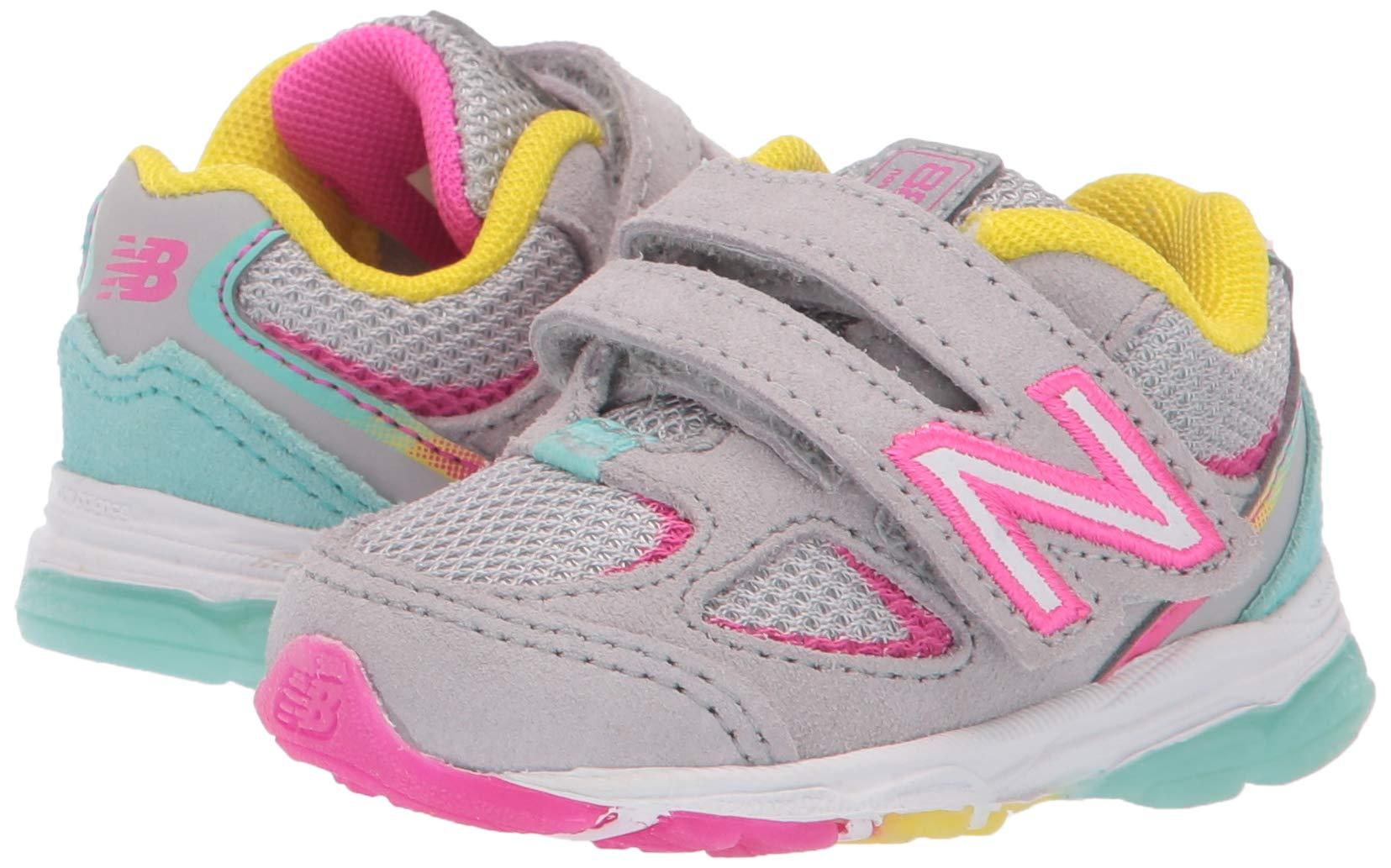 New Balance Girls' 888v2 Hook and Loop Running Shoe, Grey/Rainbow, 2 W US Infant by New Balance (Image #6)