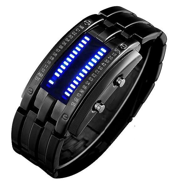 Review Binary Matrix Blue LED Digital Waterproof Watch Mens Classic Creative Fashion Black Plated Wrist Watches