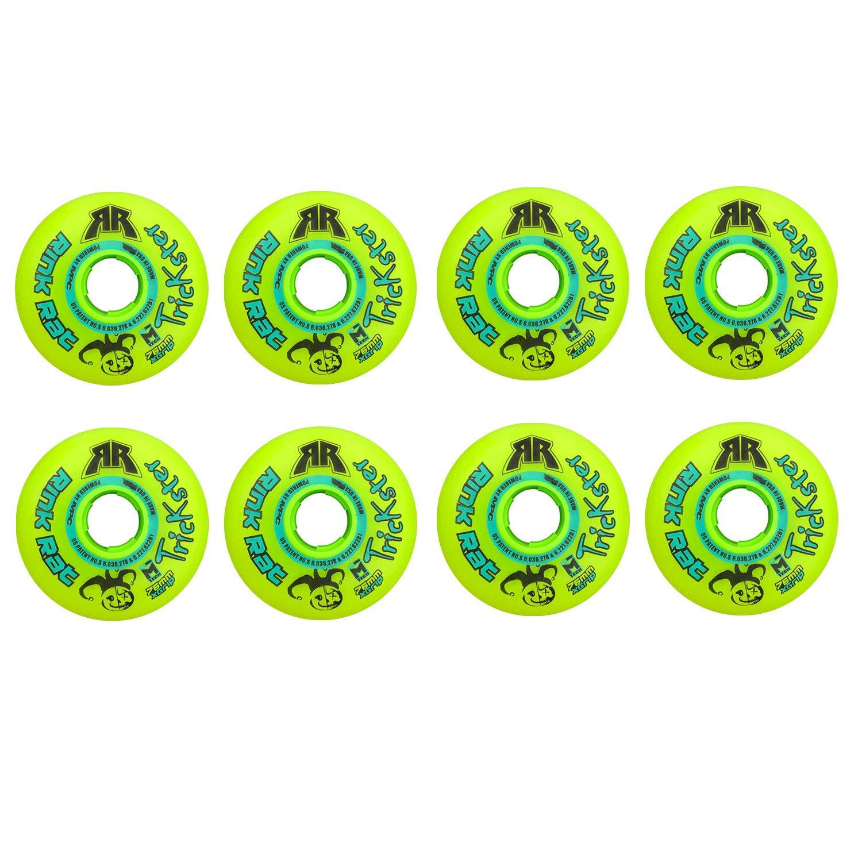 Rink Rat Wheels 76mm 84A Trickster X Grn/Blue 8-Pack Inline Indoor Roller Hockey