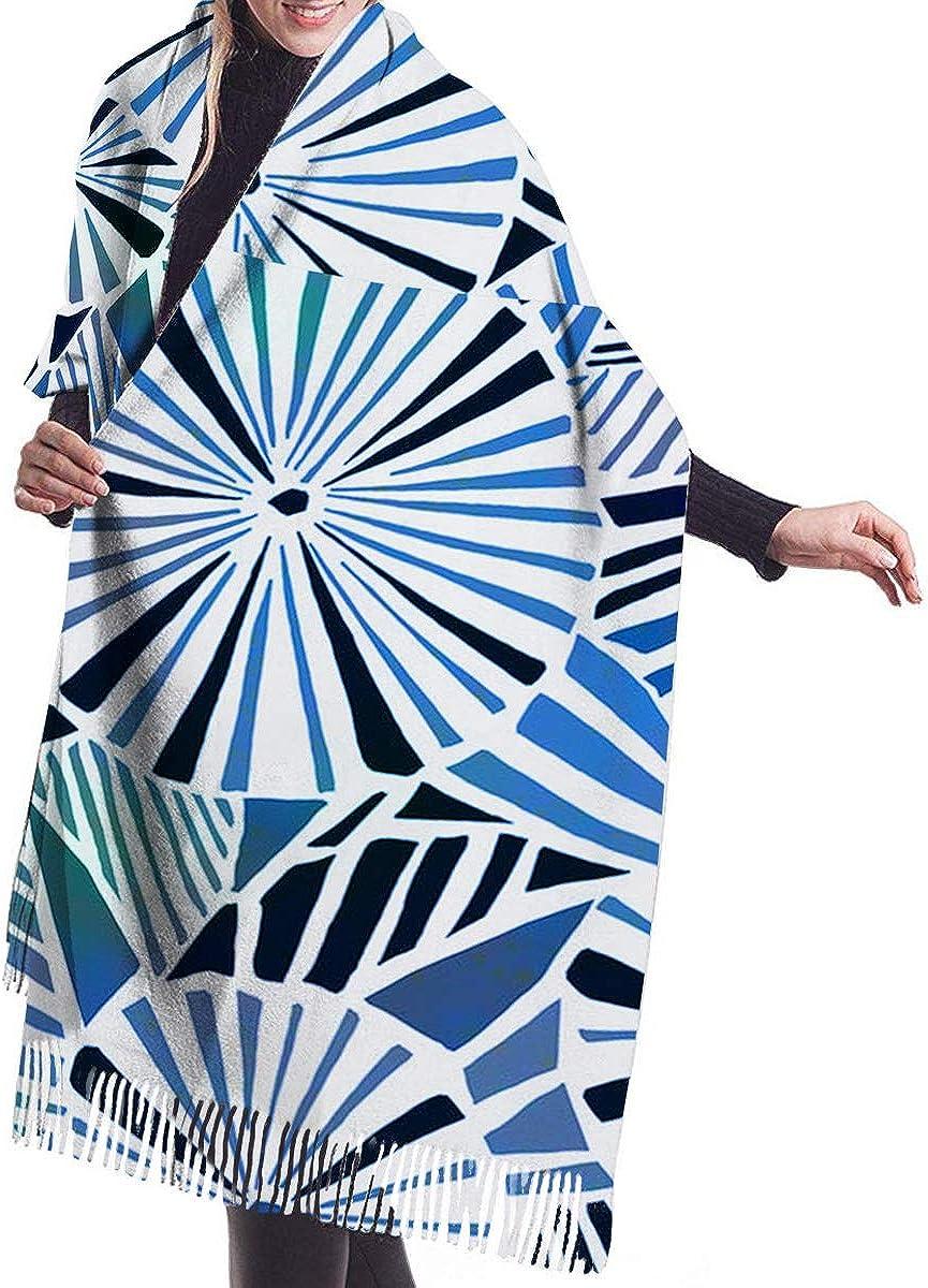 Blue Cashmere Feel Scarves with Tassels for Men Women