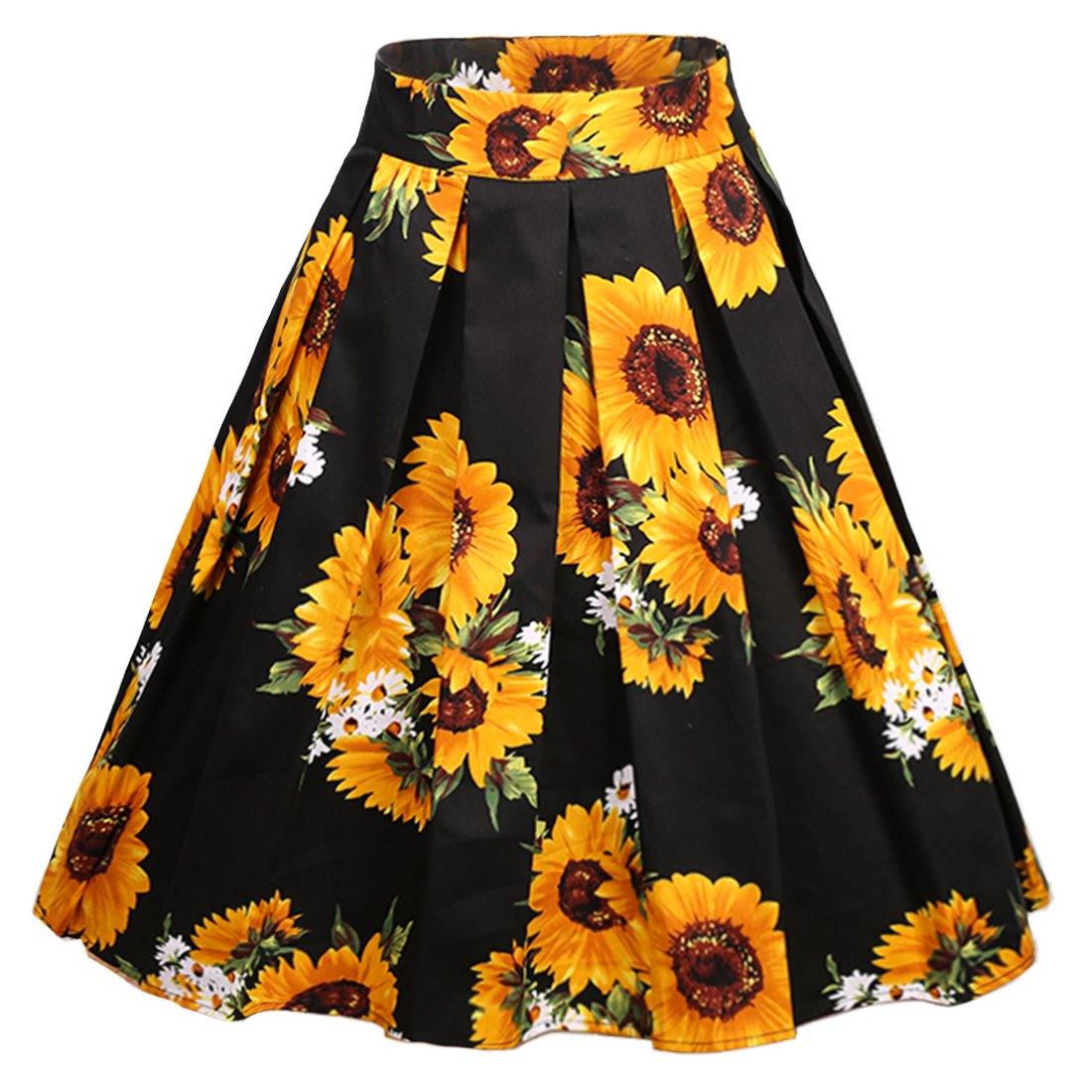 Dressever Women's Vintage A-line Printed Pleated Flared Midi Skirts Sunflower Small