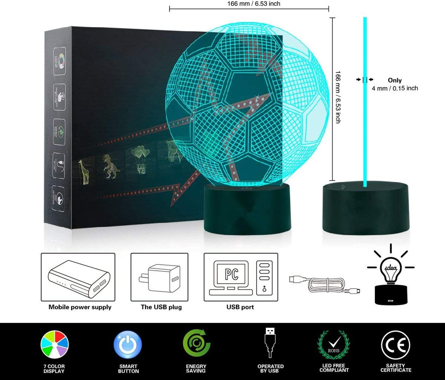 3D LED Star Wars Night Light,7 Color Change Decor Lamp,3D Lights Optical Illusions Desk Lamp for Room Decor,Perfect Gifts for Kids and Star Wars Fans