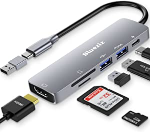 USB C HUB, 6 in 1 USB C Laptop Docking Station with 4K HDMI, 2 USB 3.0, 87W PD Charger, SD/Micro SD Card Reader, and USB C to A Adapter Compatible for MacBook Pro/Air, Surface Pro and More (Grey)