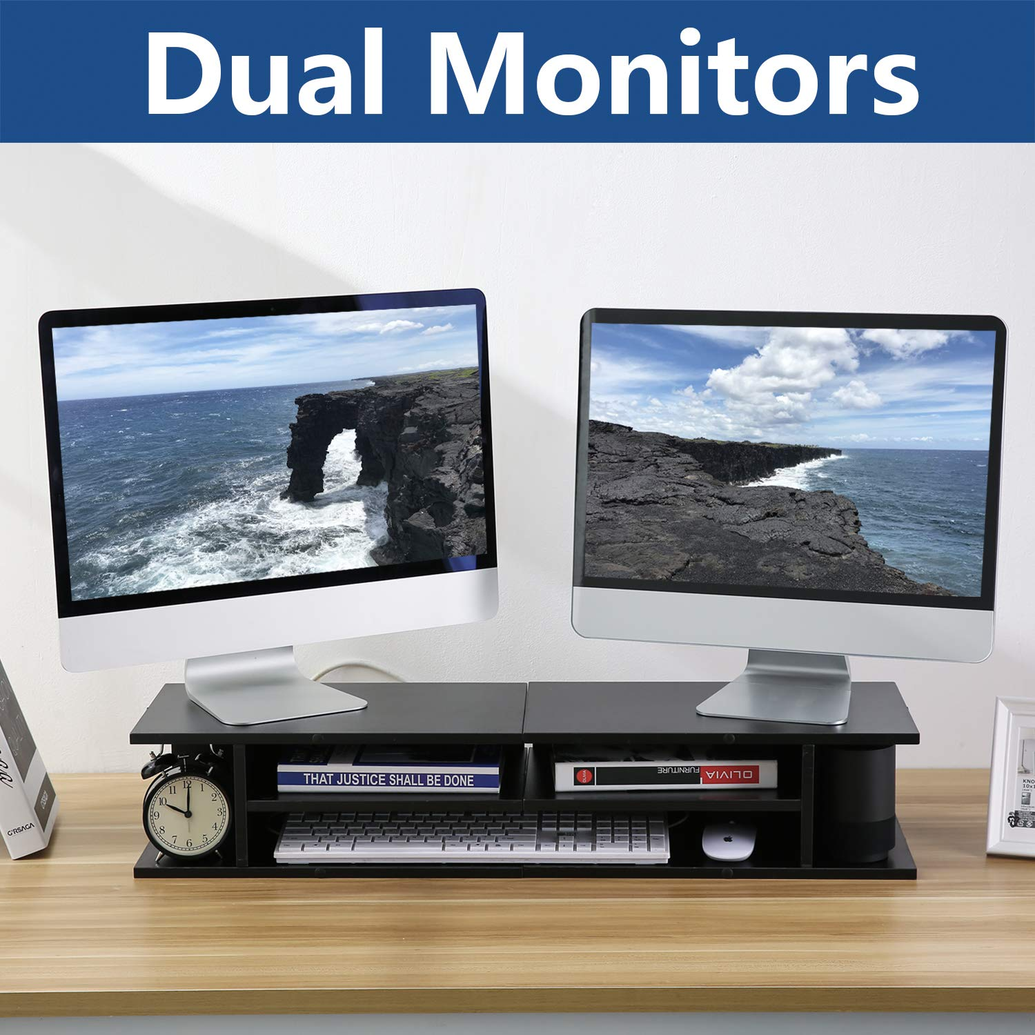 320f2afa8ef Amazon.com  Rfiver Dual Monitor Stand Riser Printer Stand for Desk with  Versatile Storage
