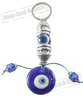 Classic blue evil eye glass keychain hamsa good luck lucky charm lucky blue evil eye greek turkish eye key chain ring amulet pendant charm aloadofball Choice Image