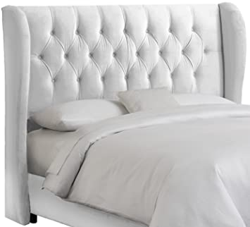 uk availability d8698 5b0d0 Skyline Furniture Velvet Tufted King Wingback Headboard, White