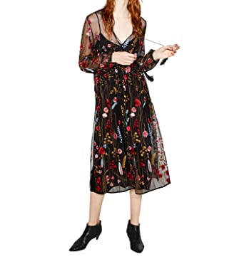 SuperLouisa Fashion longo bordado floral vestido transparente estilo de moda da Europa elegante vestidos vestidos de