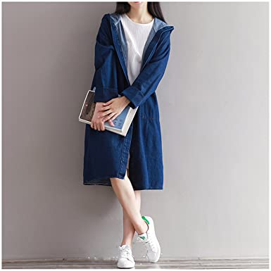 Solme Fashion Denim Jacket Long Hooded Loose Full Sleeve Spring Sutumn Jeans Jacket Women Denim Jackets