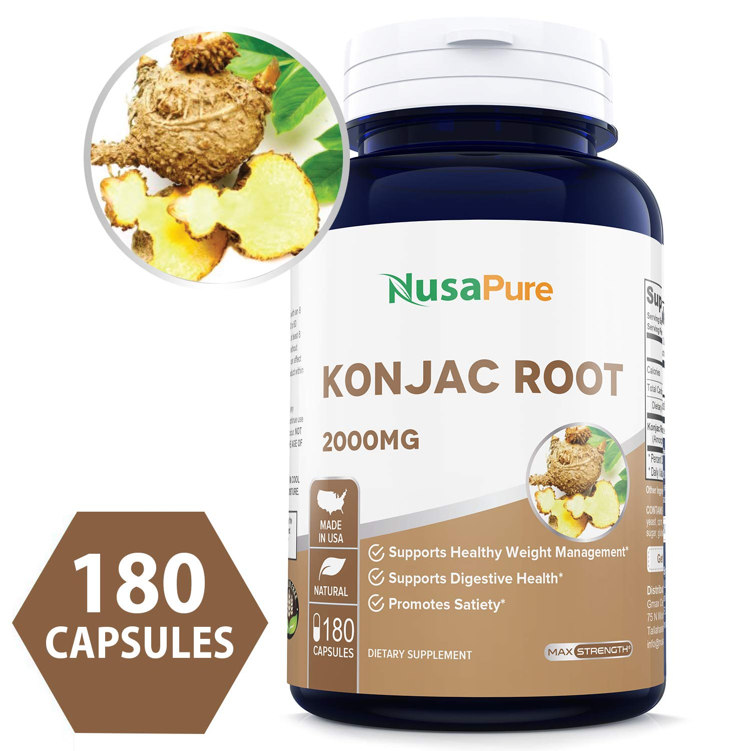 Konjac Root Extract 2000mg 180caps (Non-GMO & Gluten Free) Supports Healthy Weight Management, Supports Digestive Health, Promotes Feeling of Satiety by NusaPure