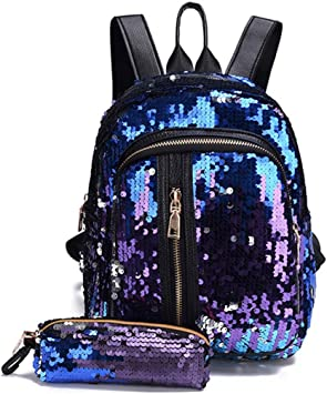 UK Free Girls Sequins Backpack Glitter Bling School Travel Rucksack Shoulder Bag