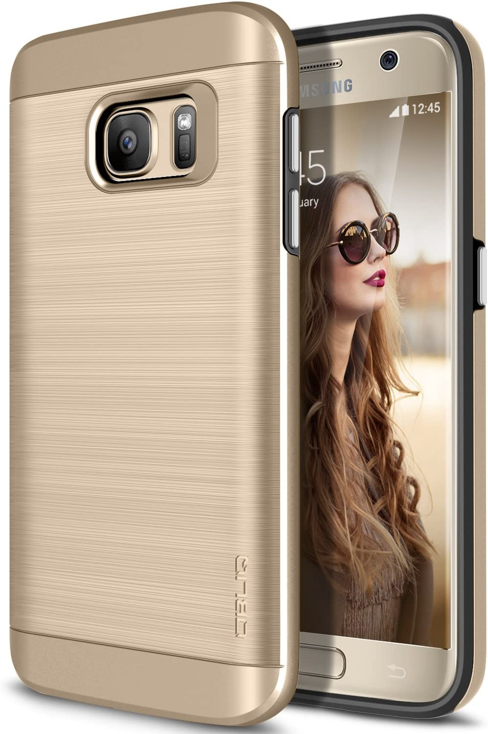 Galaxy S7 Case, OBLIQ [Slim Meta] Slim Fit Premium Dual Layer Protection Case with Metallic Brush Finish Back with Shock Absorbing TPU Inner Layer for Samsung Galaxy S7 (Champagne Gold)