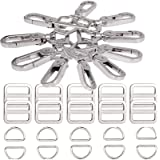 Swivel Lobster Clasps Clips Lanyard Snap Hook and Slide Buckles and Metal D Ring Semi-Circular D Ring for Handbag Bags…
