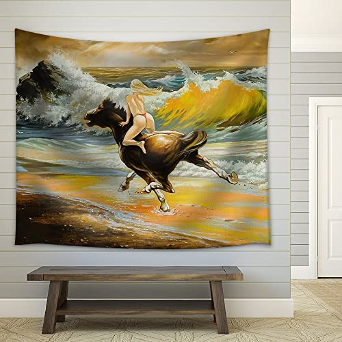 wall26 – The Girl Skipping on a Horse on Seacoast – Fabric Wall Tapestry Home Decor – 68×80 inches