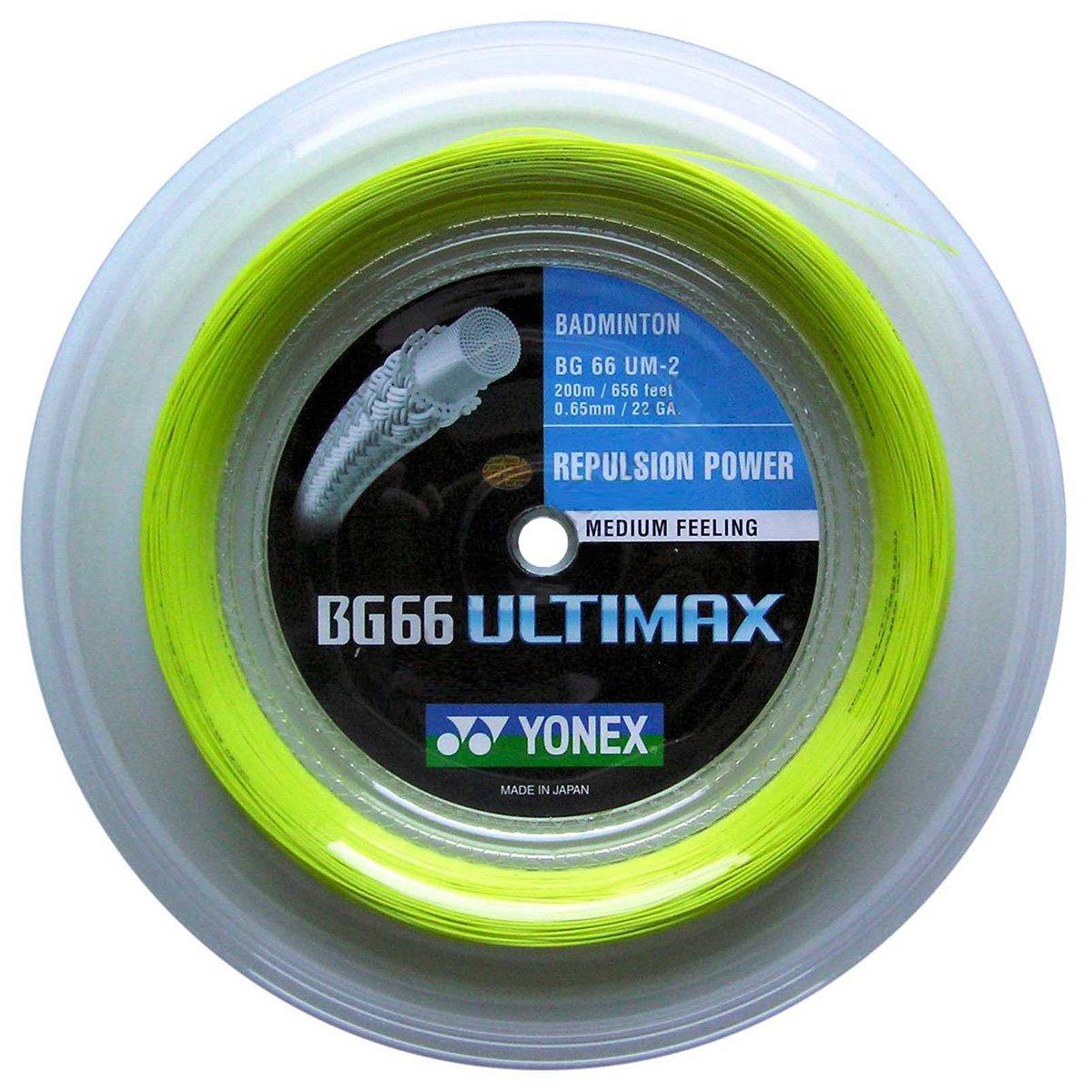 Yonex BG66 Ultimax - Cuerda para raquetas de bádminton (0,65 mm, rollo de 200 m) amarillo amarillo