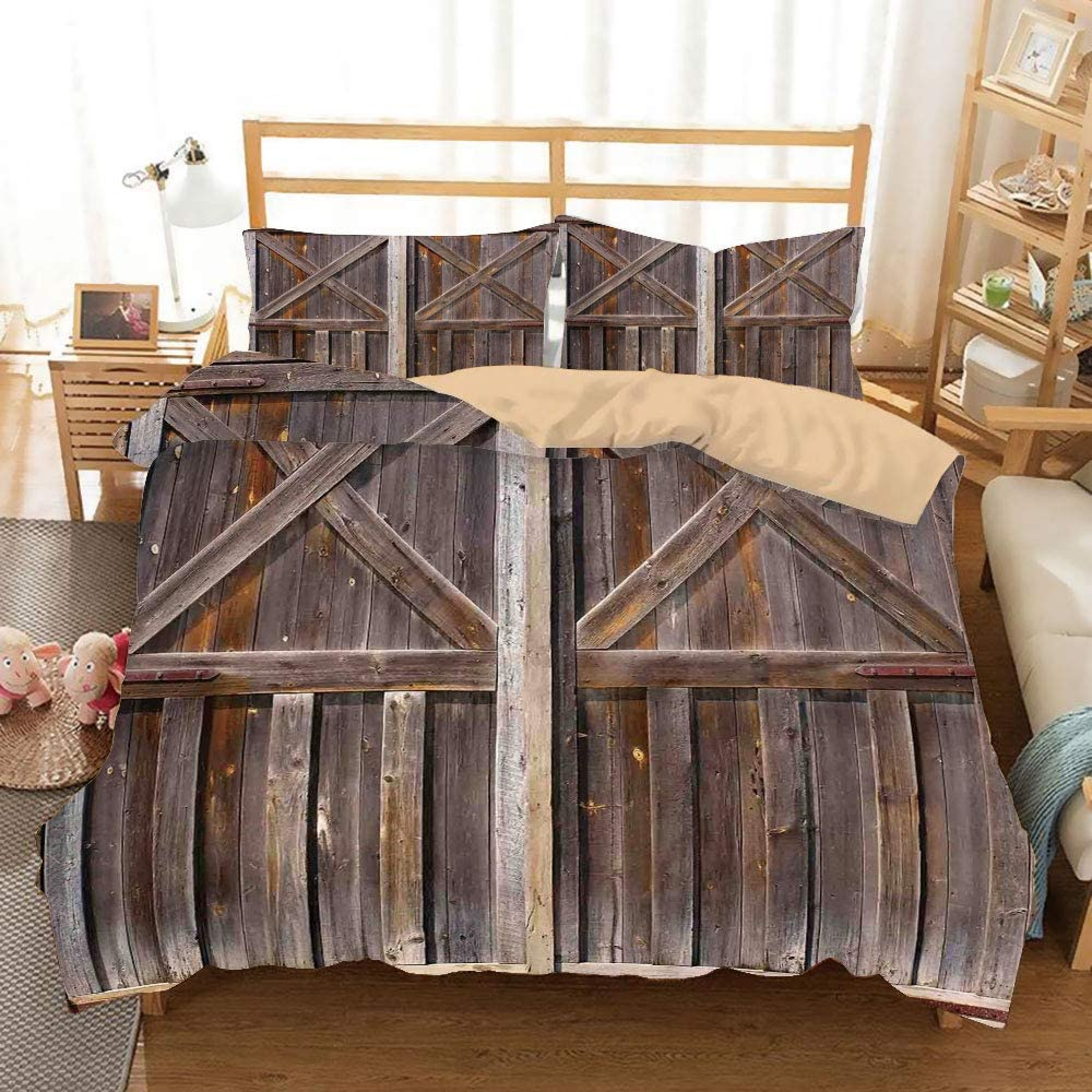 SoSung Rustic Khaki Duvet Cover Set Full/Queen Size,Old Wooden Barn Door of Farmhouse Oak Countryside Village Board Rural Life Photo Print,Decorative 3 Piece Bedding Set with 2 Pillow Shams,Brown
