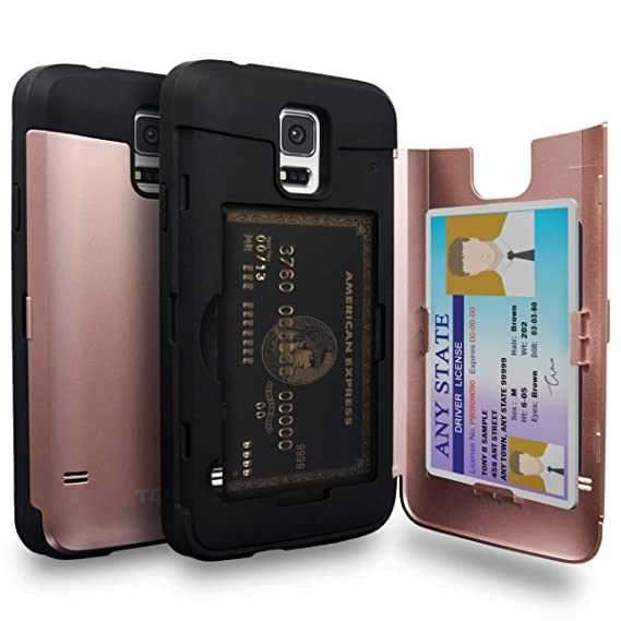timeless design 9a7a7 6aa31 TORU CX PRO Galaxy S5 Wallet Case Pink with Hidden ID Slot Credit Card  Holder Hard Cover & Mirror for Samsung Galaxy S5 / S5 Neo - Rose Gold
