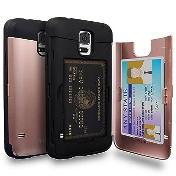 TORU CX Pro Funda Galaxy S5 Carcasa Cartera Rosa con Tarjetero Oculto y Espejo para Samsung Galaxy S5 / S5 Neo - Oro Rosa