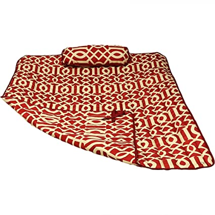 Sunnydaze Weather-Resistant Outdoor Polyester Quilted Hammock Pad and Pillow Only Set, Royal Red