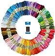 刺繍糸 25番 100色 糸通し不要 刺繍針セット 8m 100束 6本綴 600本