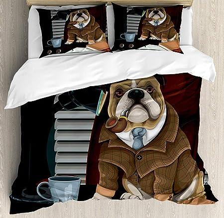 Copripiumino Bulldog Inglese.Zpangg Bulldog Inglese Copripiumino Set Detective Inglese