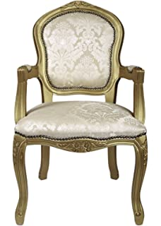 Derrys Louis Antique Style French Armchair With Damask, Wood, Gold