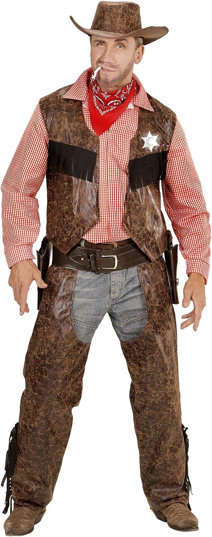 WIDMANN 05923 Adulto Camiseta Disfraz de Vaquero con Chaleco, chaparreras y Sombrero