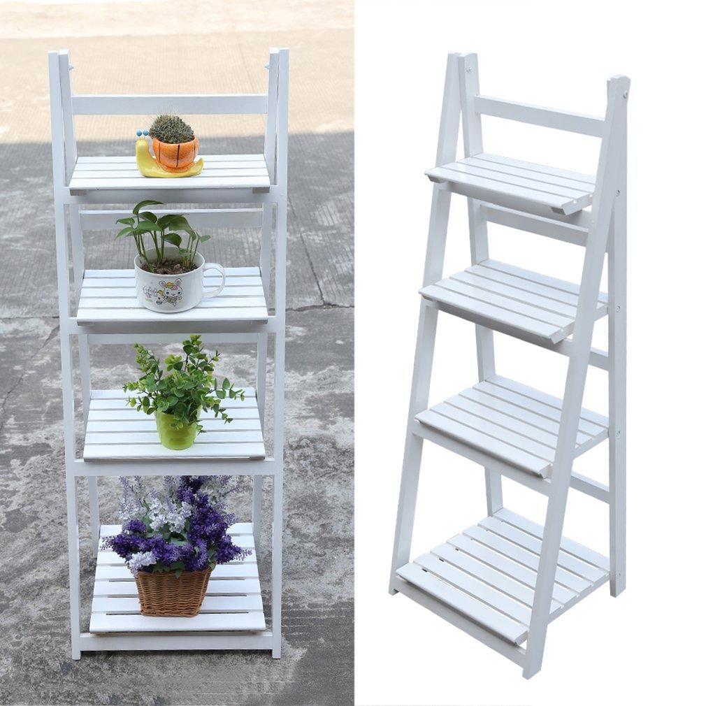 4 Tier flower stand outdoor Wooden Garden Home Flower Balcony Shelf Ladder Display Free Standing Folding Flower Shelf Dish Rack-white ¡ oHholly