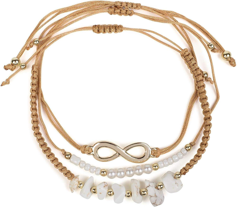 styleBREAKER Set de 3 Pulseras de Tela de Mujer con símbolo del Infinito, Perlas y Piedras, bisutería 05040163