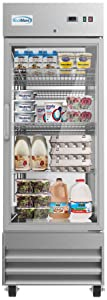 "KoolMore 29"" Stainless Steel 1 Glass Door Commercial Reach-in Refrigerator Cooler - 23 cu. ft"