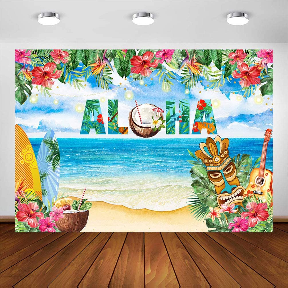 COMOPHOTO 7x5ft Aloha Luau Party Backdrop Tropical Floral Summer Beach Hawaiian Party Decoration Photography Background Pineapple Tiki Baby Shower Party Banner Supplies