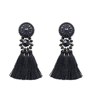 5da9ac513 Silver/Gold Tassel Earrings Women Handmade Bohemia Vintage Beads Earring  Ethnic Fringe Drop Earring Jewelry