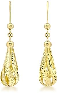 Carissima Gold 9 ct Yellow Gold Diamond Cut Twist Pearl Cone Drop Earrings