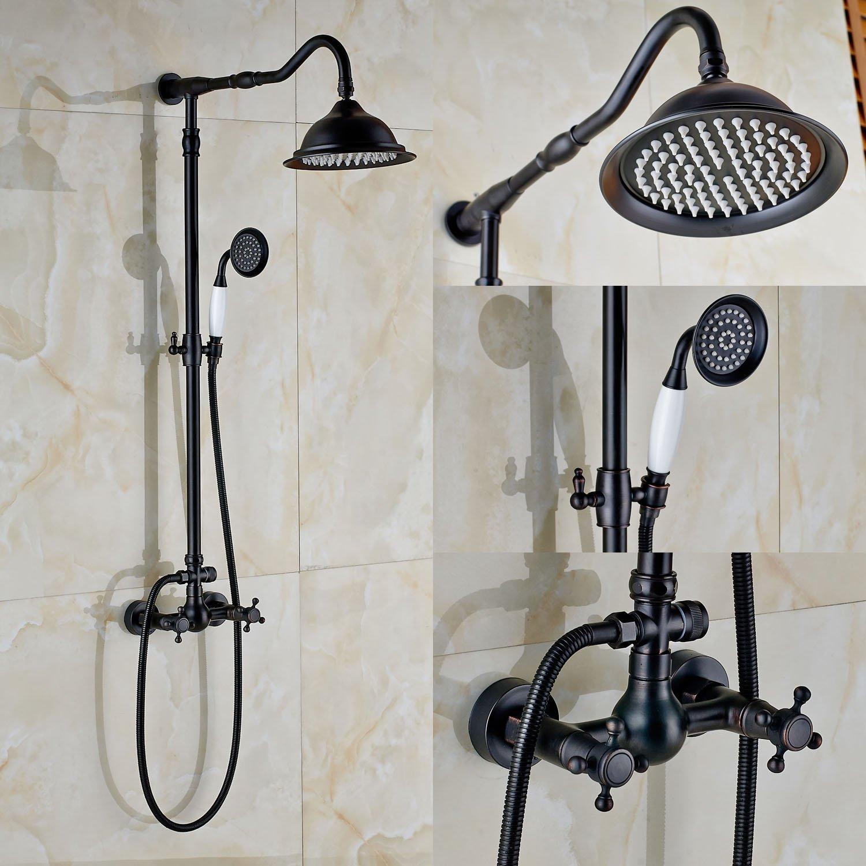 Rozin Bathroom Dual Knobs Mixer Shower Set 8-inch Rain Showerhead with Hand Spray Oil Rubbed Bronze by Rozin
