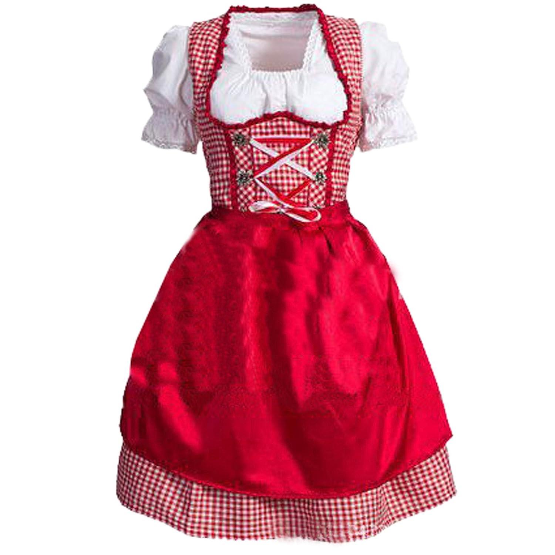 Dangshan Dirndl 3 tlg.Trachtenkleid Kleid, Bluse, Schürze, rot