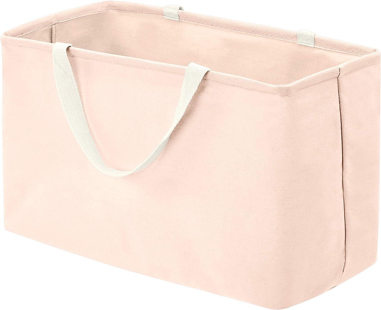 AmazonBasics – Canasto de tela, grande, rectangular, rosa apagado