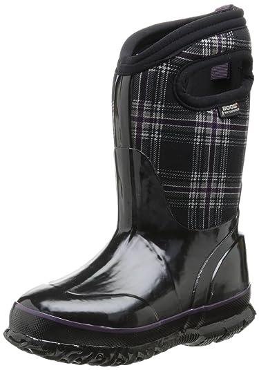 Bogs Kids Classic High Waterproof Insulated Rubber Neoprene Rain Boot, Plaid  Print/Black/