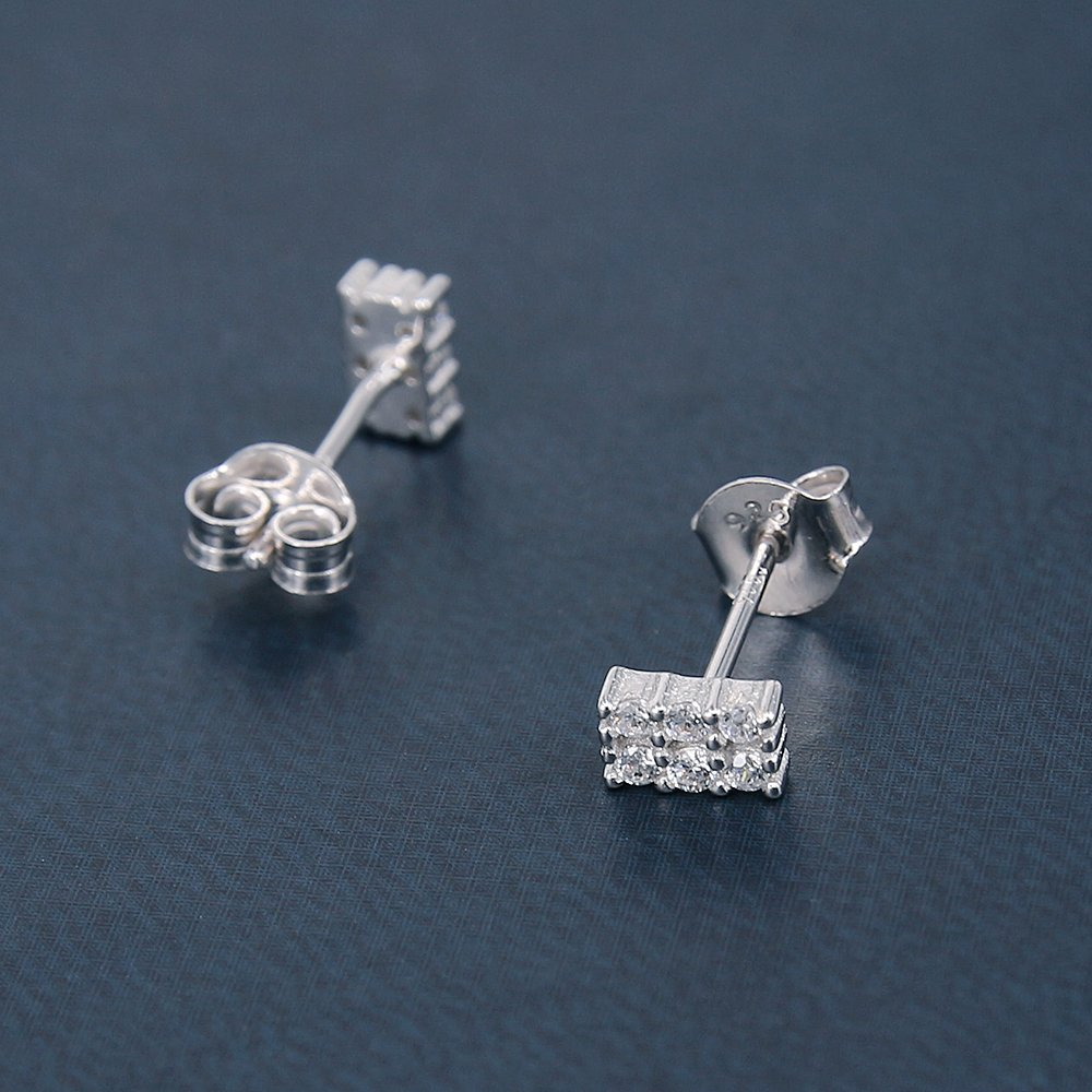 AoedeJ Tiny Round Stud Earrings Sterling Silver Earrings CZ Small Cartilage Earrings for Women Girls